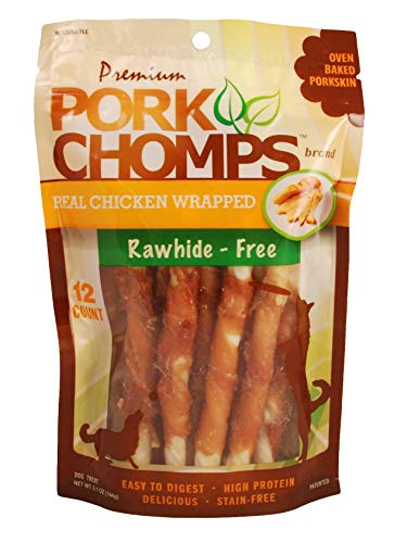 Scott Pet Pork Chomps DT905V 12CT #039 Premium Mini Twist W/Real Chicken Brown