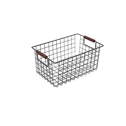 Cesta de almacenamiento de metal con asas AniU para verduras, frutas, alimentos, organizador para cocina, mostrador, despensa, baño, sala de estar