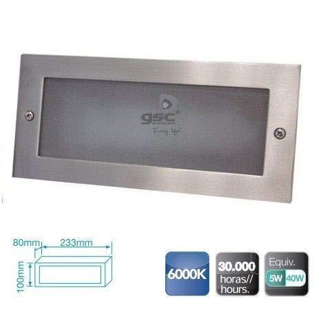 GSC Evolution Aplique Rectangular Aluminio empotrable Pared LED5W 6000K-Caja de empotrar incluida, Niquel, 233x80x100mm