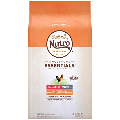 NUTRO WHOLESOME ESSENTIALS Small Breed Senior Natural Dry Dog Food, Farm-Raised Chicken, Brown Rice & Sweet Potato Recipe Dog Kibble, 5 lb. Bag