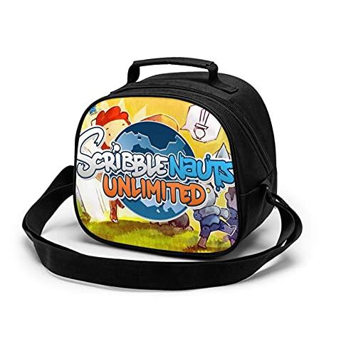 Bolsa de comida para niños Scribblenauts Game Unlimited Lunch Bag impermeable reutilizable bolsa de almuerzo portátil bolsa de comida para niños niños niñas
