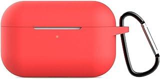 Lioncorek AirPods Pro ケース エアポッド プロ カバー 保護ケース 2019年 耐衝撃 紛失防止 AirPods Proに適用防塵 AirPods3 第3世代 スエード 無地 充電ケース 高級感 シンプル カラビナ 創意 オシャレ シリコーン キーホルダー 滑り止め 防塵 キズ防止 人気(レッド)