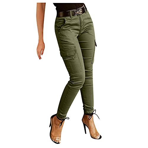 ITISME Jeanshosen 2019 Mode Pas Cher Femmes Automne et Hiver Grand Taille Haute Elastique Camo Cargo Casual Militaire ArméE Combat Camouflage Pantalon (XXL, w1-Gris)
