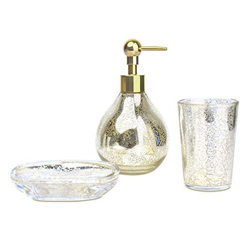 Satu Brown Badezimmer-Seifenspender-Set, 3-teilig, inklusive Seifenspender, Zahnbürstenhalter, Seifenschale, Badezimmer-Set für Einweihungsdekor, glas, gold, 1.Mosaic