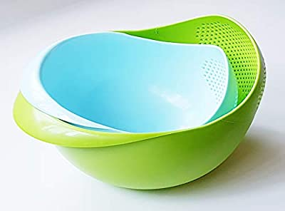 Japanese Design Colander Strainer Rice Washing Bowl Rice Washer Strainer Vegetable Drainer Food and Fruit, Pasta Washer