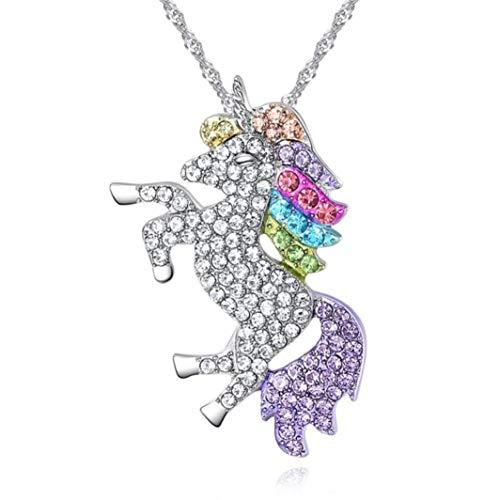 Collana con unicorno e bracciale in argento, statuetta unicorno, set unicorno