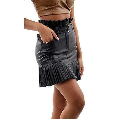 FunkyFashion Vrouwen Dames Frill Riem Rok Faux Leer Hoge Taille Korte Plissé Mini Rok
