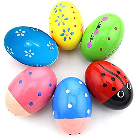 DS DISTINCTIVE STYLE Egg Shakers 4 Pieces 2.4 Inches x 1.6 Inches Natural Wood Musical Eggs Musical Percussion Instruments