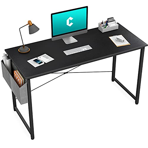Cubiker Computer Desk 47 inch Home Office Writing Study Desk, Modern Simple Style Laptop Table with Storage Bag, Black