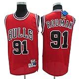 Dennis Rodman # 91 Herren-Basketball Jersey, Bulls Retro All-Star atmungsaktiv Swingman Trikots (Color : Red, Size : M)