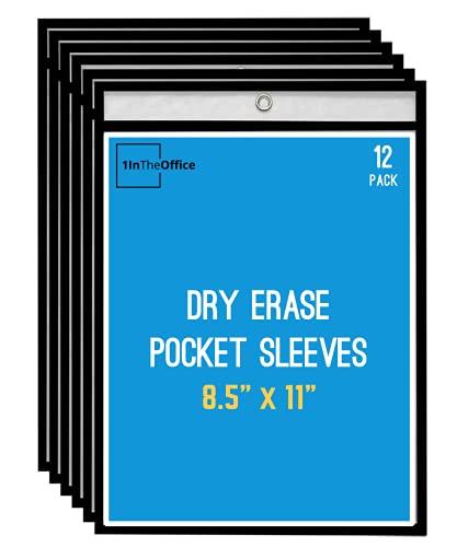 1InTheOffice Dry Erase Pocket Sleeves, Black Shop Ticket Holders 8.5x11, (12 Pack)