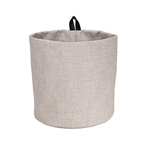 Bigso Box of Schweden Hängekorb groß – runder Wandkorb mit Schlaufe und in Leinenoptik – Aufbewahrungsbox zum Aufhängen oder Hinstellen aus Polyester und Karton - beige