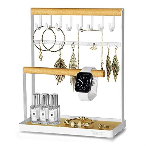 Sieradenstandaard, halskettingstandaard met dienblad, voor het opbergen van halskettingen, armbanden, ringen, horloges, allerlei soorten sieraden, ijzeren standaard en houten stokken, wit