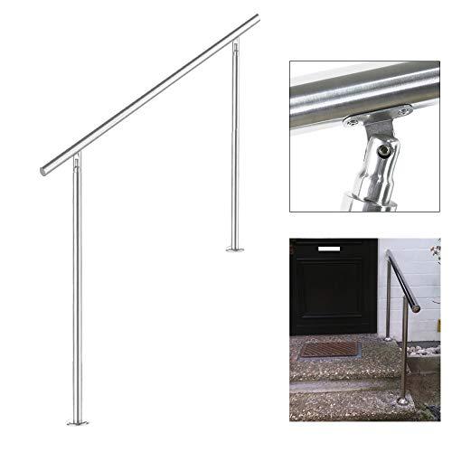 wolketon corrimano acciaio inox spazzolato con Set Ringhiera, ringhiera scala per Interni o Esterni balconi(80cm, 0 traverse)