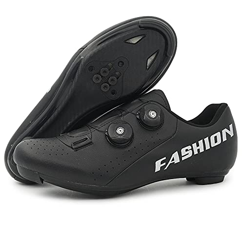 KUXUAN Calzado de Ciclismo para Hombre Calzado de Ciclismo de Carretera con Bloqueo,Zapatos de Montaña de Invierno para Hombres y Mujeres/Suelas de Nailon,Black-4UK=(235mm)=37EU