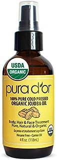 PURA D'OR Organic Jojoba Oil (4oz / 118mL) USDA Certified Premium Grade 100% Pure Natural Moisturizer: Cold Pressed, Unrefined, Hexane-Free Base Carrier Oil for DIY Skin Care, Hair, Face & Nail