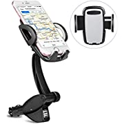 Redlink 3 in 1 Car Mount Charger , Anti-Skid Base Phone Car Mount Holder , Dual USB Charging Ports, Cigarette Lighter Power Adapter for iPhone XS MAX/XS/XR/X/8/8Plus/7/7Plus/6s/6P, Galaxy S9/S10 etc