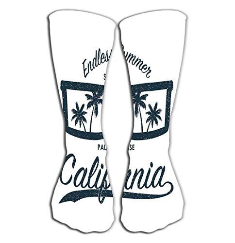 Calcetines Calcetín Diversión para hombres Gafas de sol con estampado grunge de California Palmeras Ropa de tipografía de verano Ropa original Calcetines Altos 50CM