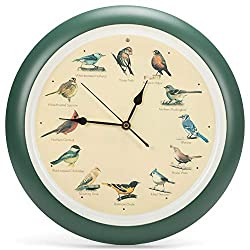 Mark Feldstein and Associates Original Singing Bird Wall Clock, 13 Inch