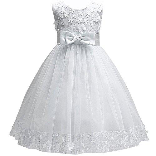 IWEMEK Abito Principessa Bambina Infantile delle Ragazze Abiti di Fiori Ricamati Abito Bimba Cerimonia Vestito Comunione Bambina Vestito da Principessa da Sposa per Ragazze Bianco 6-7 Anni