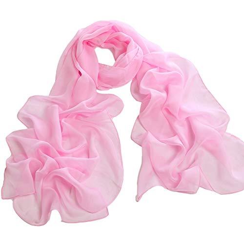 XdiseD9Xsmao lange lichte chiffon sjaal mode vrouwen effen hals wikkelen sjaal stola roze