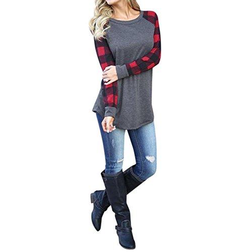 OSYARD Frauen O-Ausschnitt Hemd mit Gitter, Damen Langarm Bluse Baumwollmischung Sweatshirt Pullover Patchwork Tops