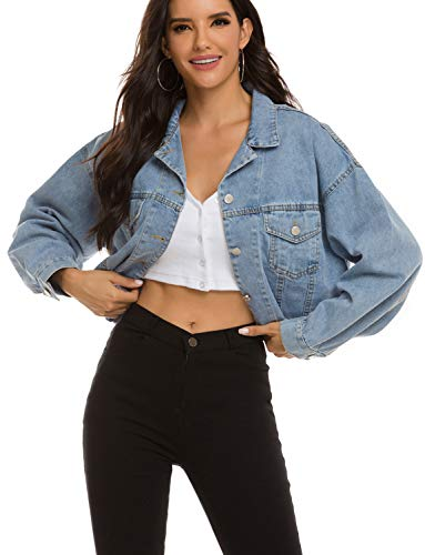 Zilcremo Damen Jeansjacke Button Down Boyfriend Crop Denim Jacket Jean Jacke Hellblau M