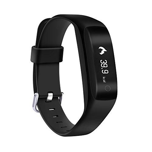 Yuntab SmartBand C5-Smart Bracelet (Ip65 Waterproof, 24-h Health Monitor, Control remoto y notificaciones de enlace social, para Android y iPhone) Negro