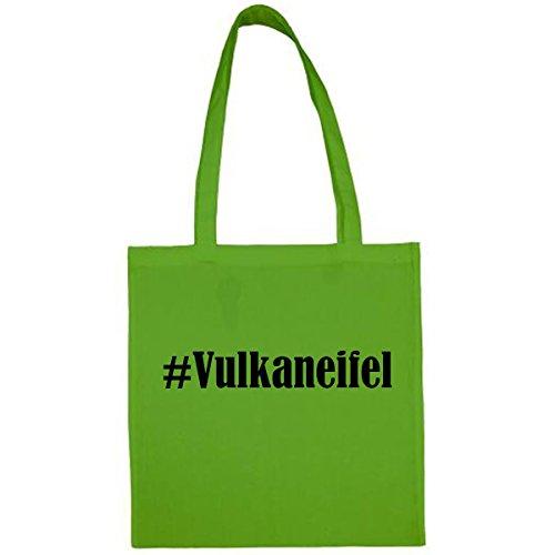 Tasche #Vulkaneifel Größe 38x42 Farbe Grün Druck Schwarz