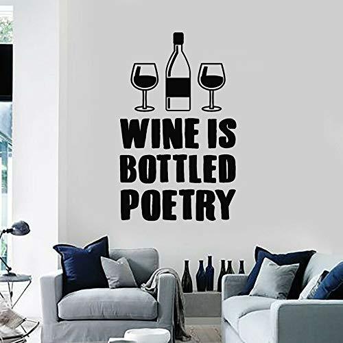 JXNY Weinladen Logo Küche Zitat abgefüllt Gedicht Wein Wandaufkleber Vinyl Aufkleber Home Dekoration Wandaufkleber Innendekoration Wandbild 100,5x63cm