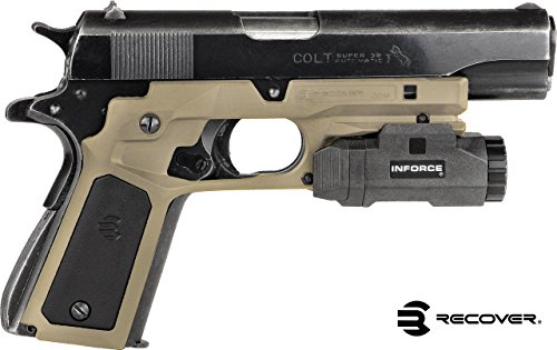 Recover Tactical CC3P Grip and Rail System with Changeable Panels for The 1911 (Tan with Black and Tan Panels)