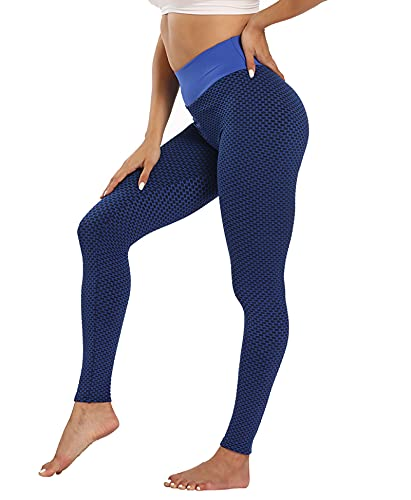 Leezepro Leggings 3D de mujer - Pantalones deportivos con elevación del culo de cintura alta para mujeres con entrenamiento, azul oscuro, S