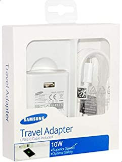 شاحن Samsung 10 W 3pin وكابل USB لـ S4, S6, S6 EDGE, NOTE4, A7, A5, A3, J1, J5, J7, E5, E7