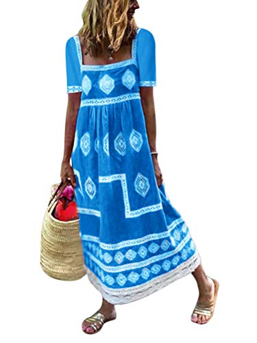 Tomwell Damen Sommerkleid Ärmelloses Bedrucktes Leinenkleid Strandkleid Vintage Mittellanges Einfarbig Losen Kleider Z Blau 46