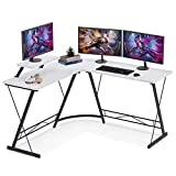L Shaped Gaming Desk, 51' Home Office Desk with Round Corner Computer Desk with Large Monitor Stand Desk Workstation,White