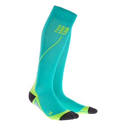 Meia de Compressão CEP Run Socks 2.0 Masculina - Verde Água/Limão III