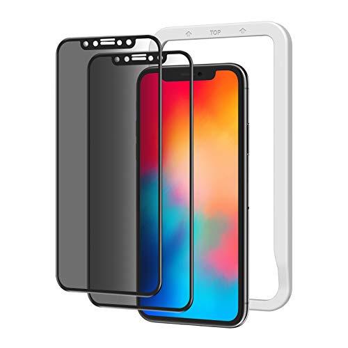 NIMASO ガラスフィルム 覗き防止 iPhone11Pro / Xs/X 用 保護 フィルム 強化 ガラス 全面保護 ガイド枠付き 2枚セット