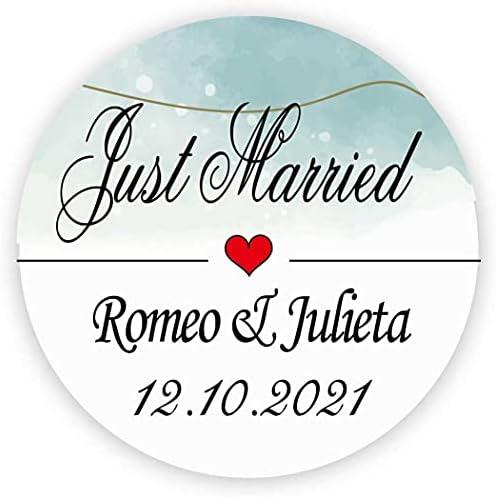 MameArt 50 PCS Autocollants Personnalis 233;es Mariage Just Married Pr 233;nom 4 cm Stickers201;tiquettes Drag 233;es Mariage Anniversaire Cadeaux F 234;te FR01
