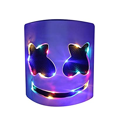 DJ LED Mask - Music Festival Party Light Up Mask Cosplay Costume - Carnaval Halloween Disco Headgear Prop Latex Full Head Hat - Carnival DJ Helmet White by