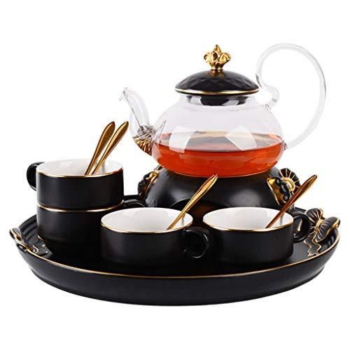 Kop & schotel sets Kruiden Thee Theeset, Glazen Theepot Huishoudelijke Keramiek Koffiebeker Zwart Thee Theeset Theeset