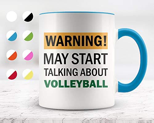 Taza de cerámica para café y té de 325 ml, con texto en inglés 'Warning May Start Talking About Volleyball', ideal como regalo de cumpleaños