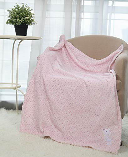 CREVENT 30''X40'' Plush Fluffy Warm Fleece Baby Throw Blanket for Girl Infant Toddler Crib Cot Stroller (Pink Cat)