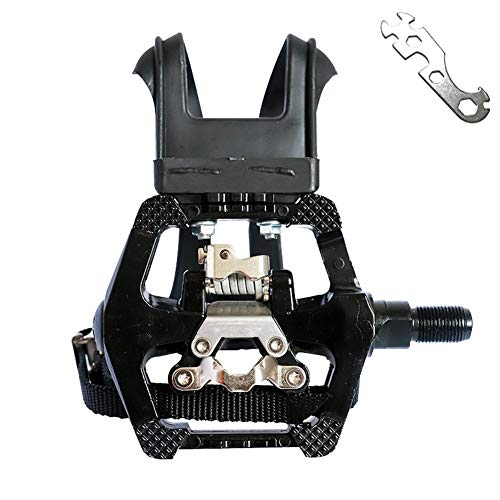 haoliving Spin Bike Pedals Compatible with Shimano SPD 9/16#039#039 Pedals with Toe Clips Indoor/Exercise/Peloton Bicycle Pedals