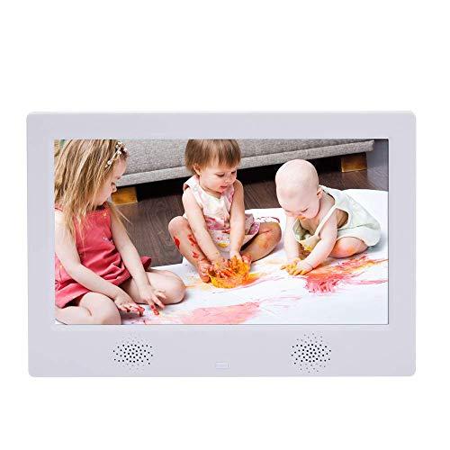 SEESEE.U Cornice per Foto Digitale HD da 10 Pollici con Memoria Integrata da 16 GB Schermo LCD 16: 9 ad Alta risoluzione 1024x600, Lettore MP3 / Foto/Video con Telecomando, Regalo Bianco