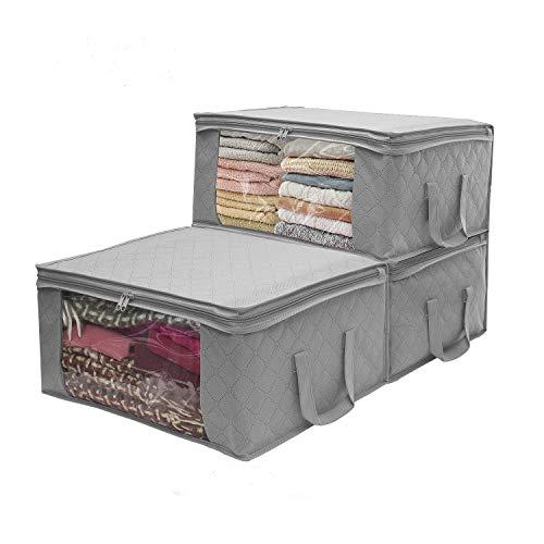 3 contenitori per indumenti, grande capacità, in carbone di bambù trapuntati con grande finestra trasparente per piumoni, coperte, lenzuola, piumini, vestiti, trapunte, cuscini, maglioni