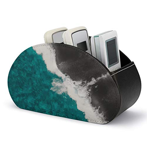 Remote Control Holder with 5 Compartments,Modern Artsy Teal Blue Black Ocean Beach Waves PU Leather TV Remote Organizer Storage Box for TV Remote, DVD, Controllers
