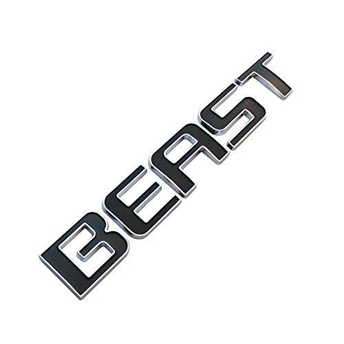 Beast, diseño de emblema para coches Camiones Cromado con Negro Repuesto