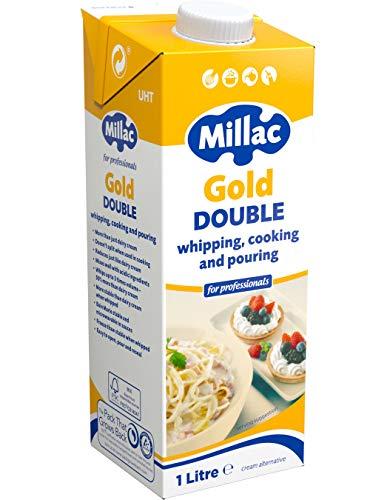 Millac Gold Double Cream Whipping, Kochen und Ausgießen, Alternative für Profis, 1 Liter (4 Stück)