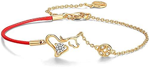 Pulsera china Pulsera hecha a mano Feng Shui Lucky Charm Bracelet 2021 Año del OX S922 ST925 Silver Gold-Chapado Chino Zodiaco Ox Inelido Zircon Cobre Cobre Moneda roja Cadena de la Cadena Pulsera Aju
