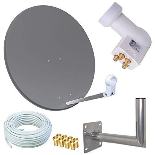 netshop 25 HD Sat Anlage 80cm Spiegel + Opticum Quad LNB für 4 Teilnehmer + 50m Kabel + 40cm Wandhalter (3 Farben wählbar)